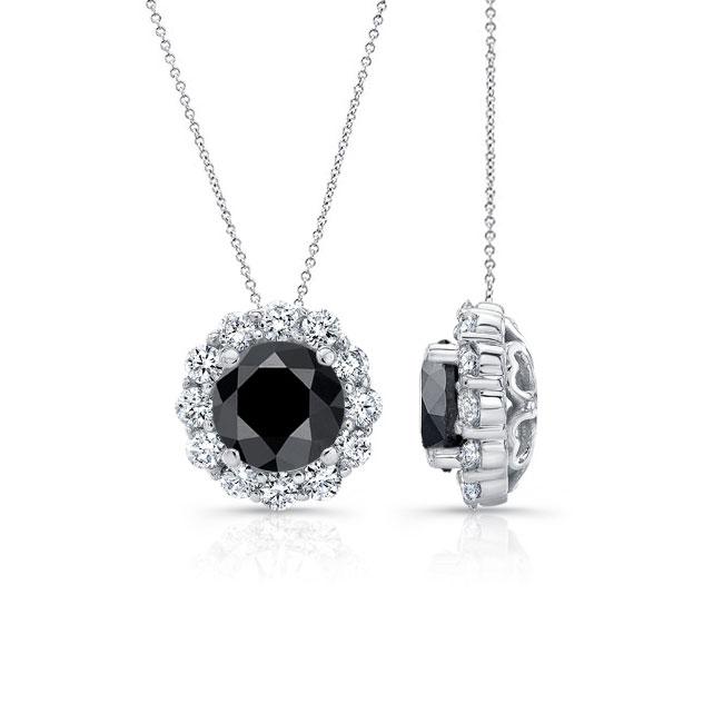 Black & White Diamond Halo Necklace BK-8125N Image 2