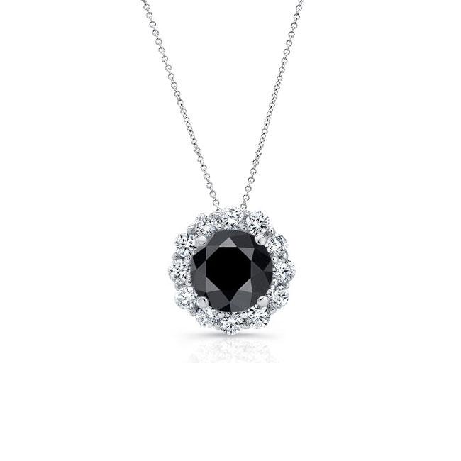 Black & White Diamond Halo Necklace BK-8125N