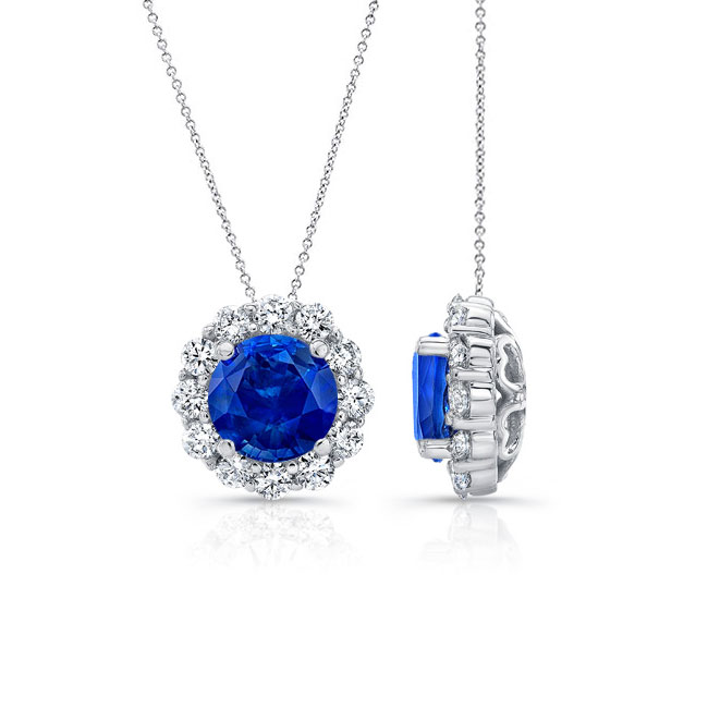 Blue Sapphire & Diamond Halo Necklace BS-8125N Image 2