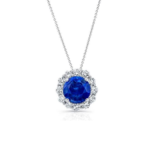 Blue Sapphire & Diamond Halo Necklace BS-8125N