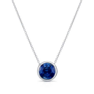 Blue Sapphire White Gold Necklace BS-8150N