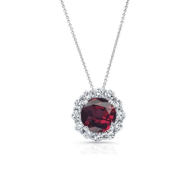 Garnet & Diamond Halo Necklace GR-8125N