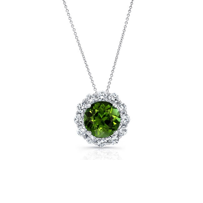 Green Tourmaline & Diamond Halo Necklace GT-8125N