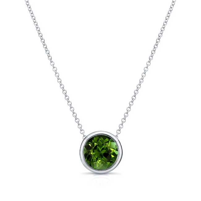 Green Tourmaline White Gold Necklace GT-8150N
