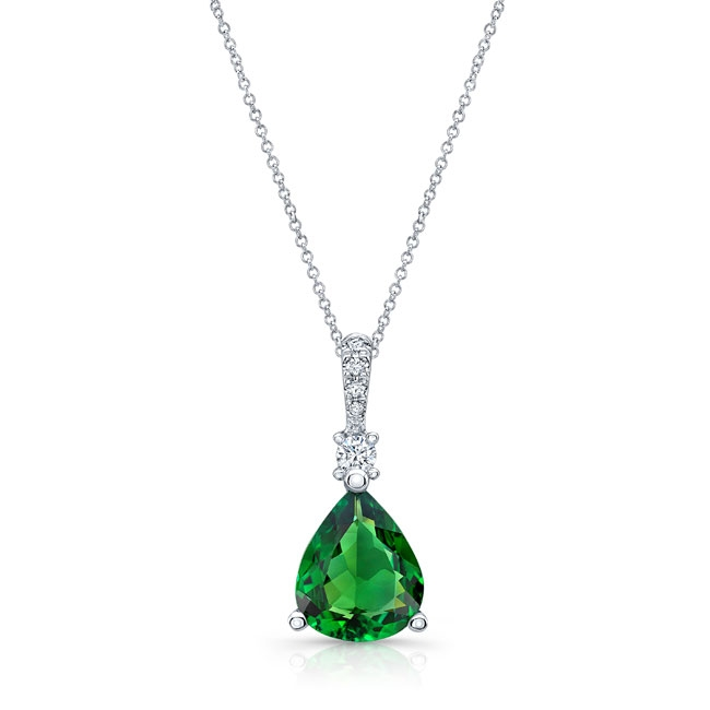 White Gold Green Tourmaline and Diamond Necklace GT-8174N
