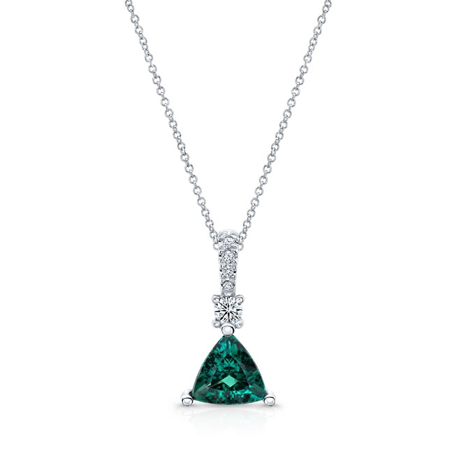 White Gold Green Tourmaline and Diamond Necklace GT-8178N