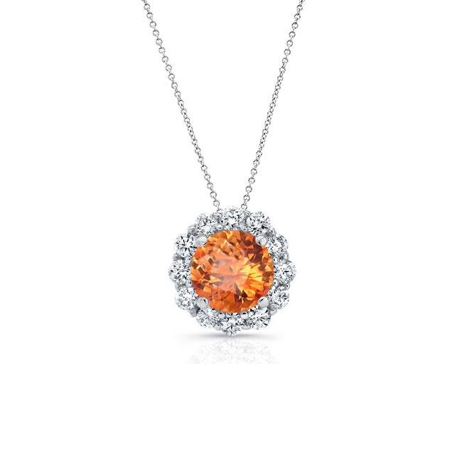 Madeira Citrine & Diamond Halo Necklace MC-8125N