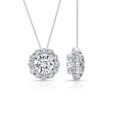 Moissanite Halo Necklace MOI-8125N Image 2