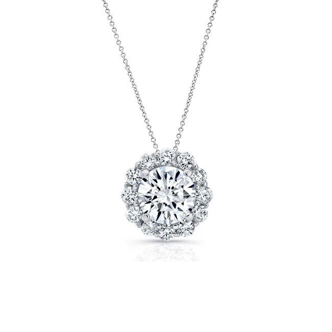 Moissanite Halo Necklace MOI-8125N
