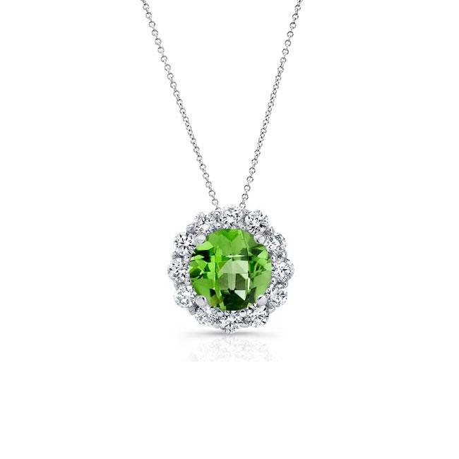Peridot & Diamond Halo Necklace PD-8125N