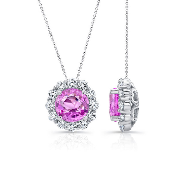 Beautiful Pink Sapphire & Diamond Halo Necklace PS-8125N Image 2