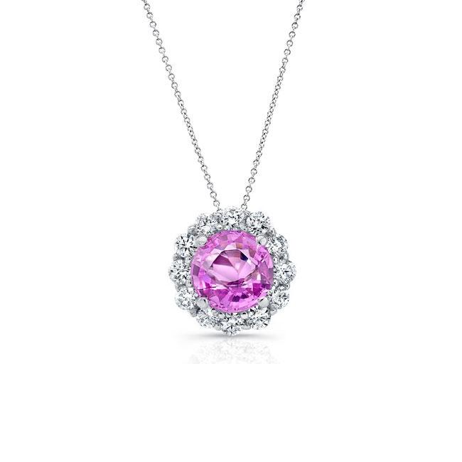 Beautiful Pink Sapphire & Diamond Halo Necklace PS-8125N