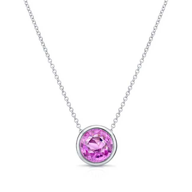 Pink Sapphire White Gold Necklace PS-8150N