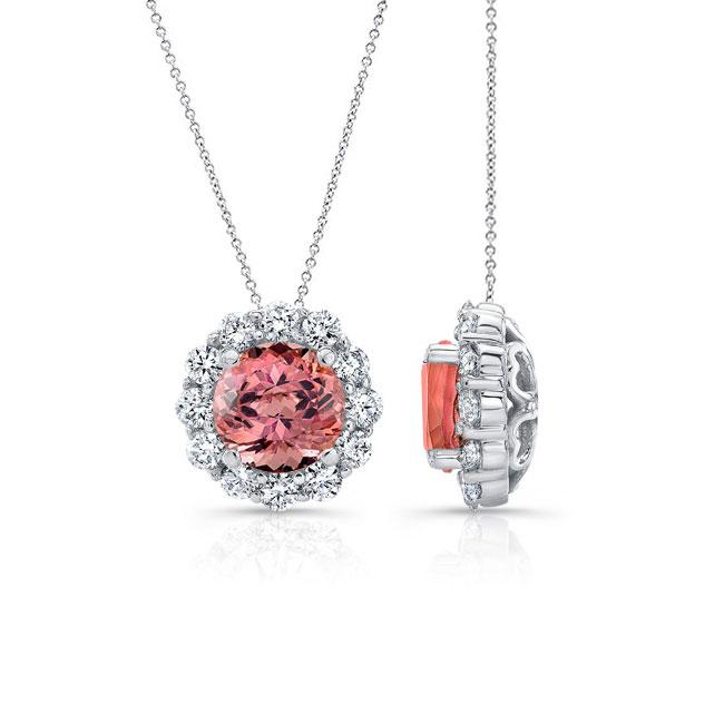 Pink Tourmaline & Diamond Halo Necklace PT-8125N Image 2