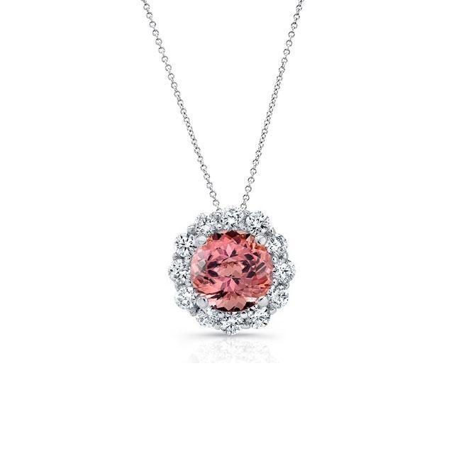Pink Tourmaline & Diamond Halo Necklace PT-8125N