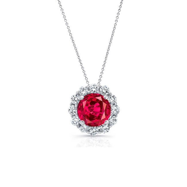 Ruby & Diamond Halo Necklace RB-8125N