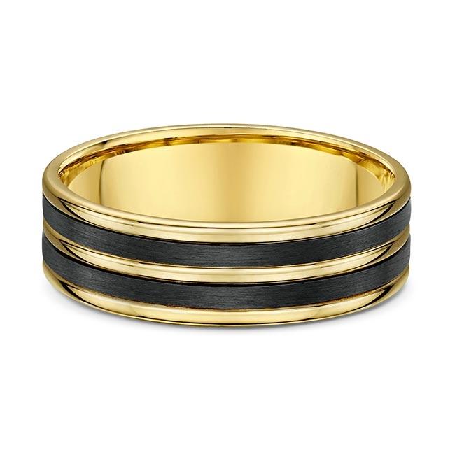 Dora Carbon Fiber And Yellow Gold Wedding Band 596B00 Image 1