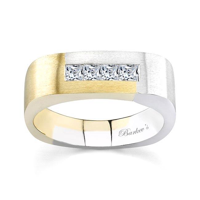 Two Tone Princess Cut Diamond Wedding Band 6866G