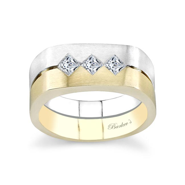 Two Tone Princess Cut Diamond Wedding Band 6912G Image 1