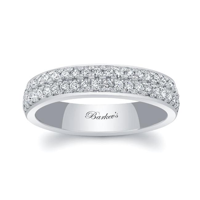 Domed Diamond Wedding Band 8124W_4MM