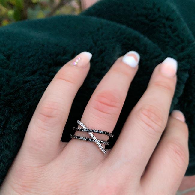 Black Diamond Criss Cross Wedding Band 8186WBK Image 4