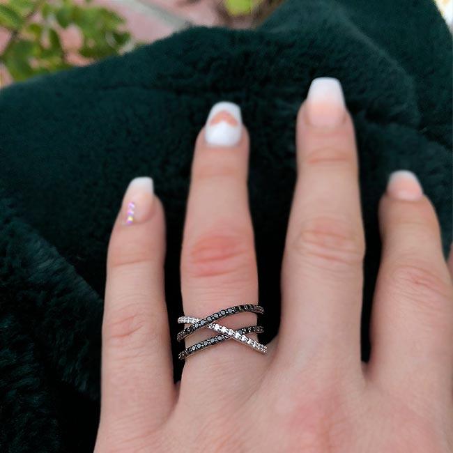 Black Diamond Criss Cross Wedding Band 8186WBK Image 6